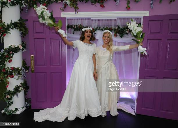 British actresses Sophie Porley and Amanda Clapham and British singer Ryan Fletcher attend the opening of Comedy Central UK's FriendsFest at...