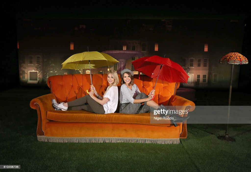 British actresses Sophie Porley (R) and Amanda Clapham attend the opening of Comedy Central UK's FriendsFest at Hillsborough Park on July 7, 2017 in Sheffield, England.