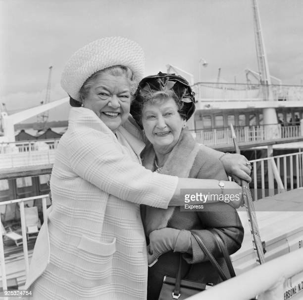 British actresses Violet Carson and Margot Bryant costars on television show Coronation Street Southampton UK 30th April 1968