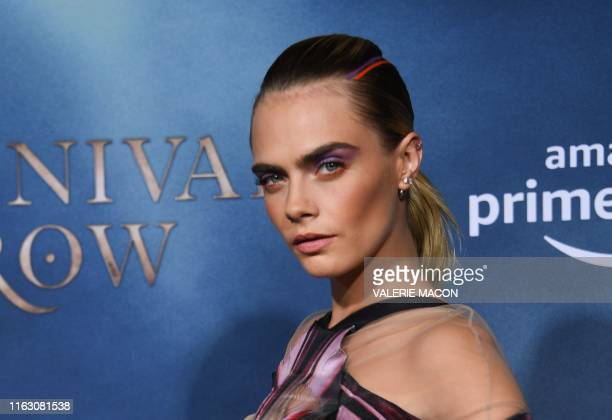 British actress/model Cara Delevingne arrives for the Los Angeles premiere of Amazon Original Series Carnival Row at the TCL Chinese theatre on...