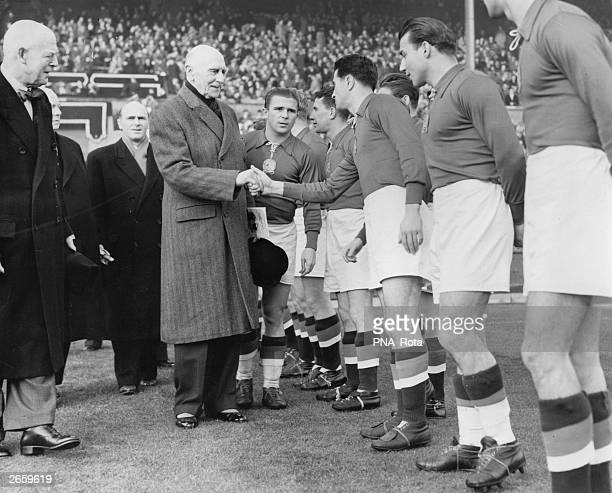 British administrator the Duke of Athlone being introduced to members of the Hungarian football team before their match against England