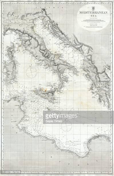 1868 British Admiralty Chart or Map of the Mediterranean Sea Italy Corsica Greece Tunisia