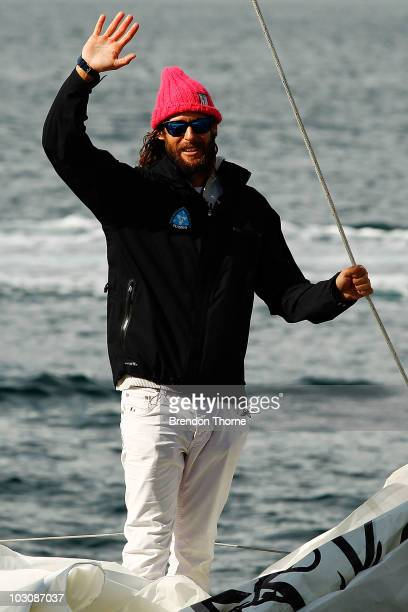 British adventurer and environmentalist David de Rothschild gestures as the Plastiki arrives at Sydney Harbour completing the 12860 kilometre journey...