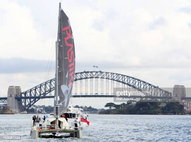 British adventurer and environmentalist David de Rothschild sails as the Plastiki arrives at Sydney Harbour completing the 12860 kilometre journey...