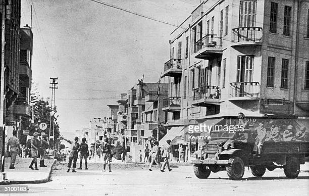 British Airborne Division troops clearing the streets of Tel Aviv Palestine after being stoned by a mob 27th November 1945 Rioting broke out over a...
