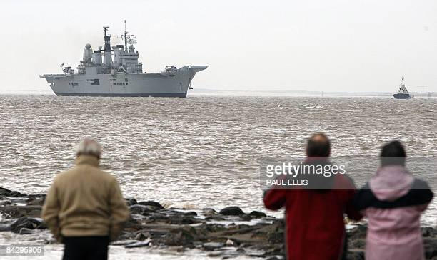 British Aircraft Carrier HMS Ark Royal approaches the mouth of the River Mersey as she arrives for a weekend visit to Liverpool northwest England on...