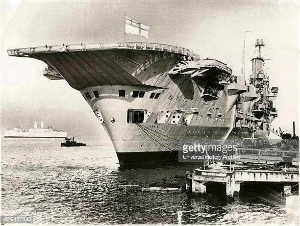 British Aircraft Carrier HMS Ark Royal Docked at Pier Porsmouth England 1939