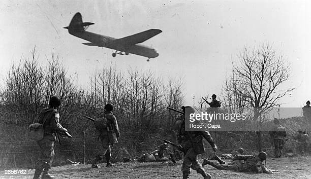 A British Airspeed Horsa glider bringing in reinforcements at Wesel Germany for the Allied airborne assault operation to secure the Rhine crossing...