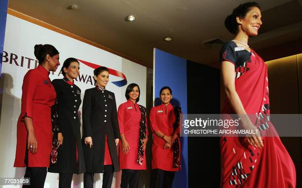 British Airways air hostesses display new cabin crew uniforms in New Delhi 26 September 2007 British Airways unveiled new cabin crew uniforms for its...