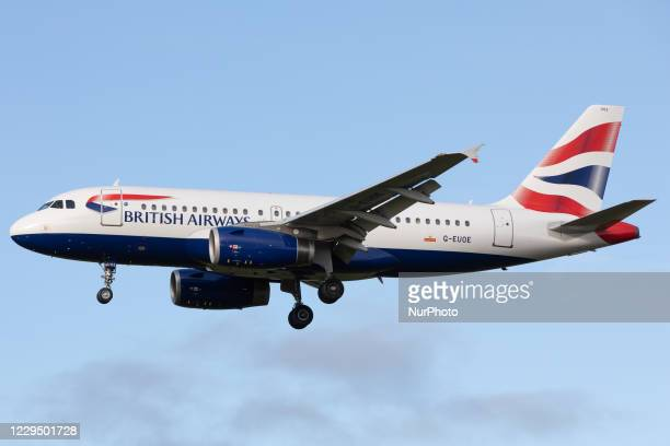 British Airways Airbus A319 lands at Newcastle Airport on 30th October 2020