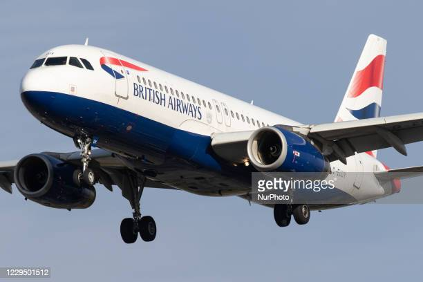 British Airways Airbus A320 lands at London Heathrow Airport on 28th October 2020