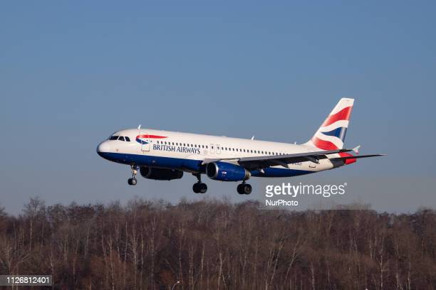 British Airways Airbus A320-200 with registration G-EUUO landing at Luxembourg Findel International Airport LUX ELLX in the blue sky. BA connects...