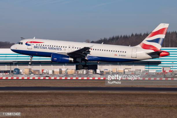 British Airways Airbus A320200 with registration GEUUO landing at Luxembourg Findel International Airport LUX ELLX in the blue sky BA connects...