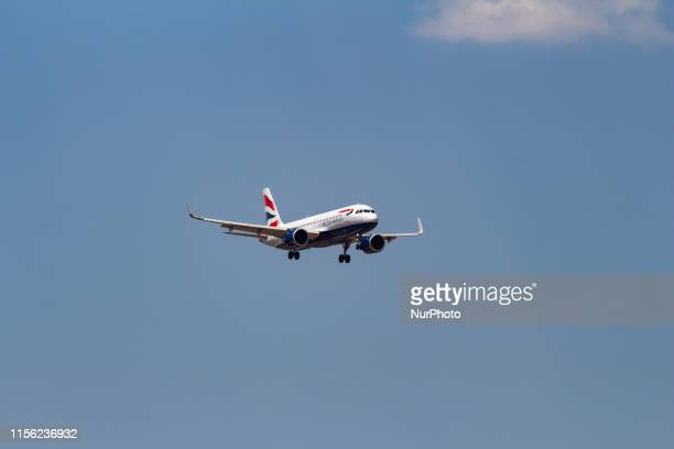 British Airways Airbus A320neo aircraft landing in a blue sky summer day at Athens International Airport AIA LGAV / ATH in Greece on 15 July 2019 The...