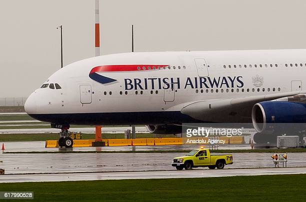 British Airways Airbus A380 sits on the outer tarmac at Vancouver International Airport in Richmond, Vancouver on October 25, 2016. At least 25...
