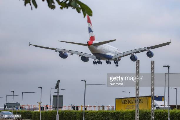 British Airways Airbus A380800 double decker wide body aircraft with registration GXLEF landing at London Heathrow International Airport LHR EGLL...