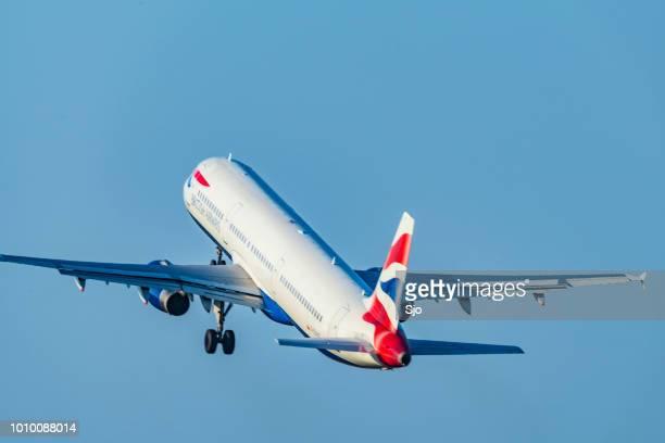 British Airways Airbus taking off from Amsterdam Airport Schiphol