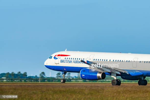 British Airways Airbus taking off from Amsterdam Airport Schiphol