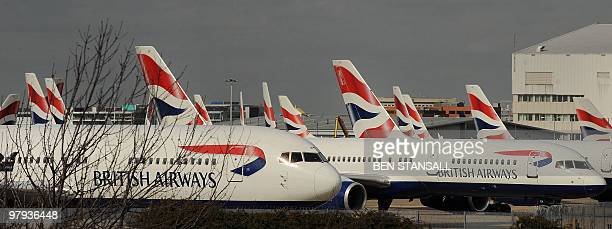 British Airways aircraft are parked on the ground on the final day of a threeday strike by BA cabin crew near London Heathrow airport on March 22...