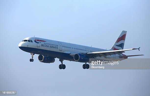A British Airways aircraft is seen making the final approach to London Heathrow airport as the plane prepares to land in London UK on Monday Feb 18...