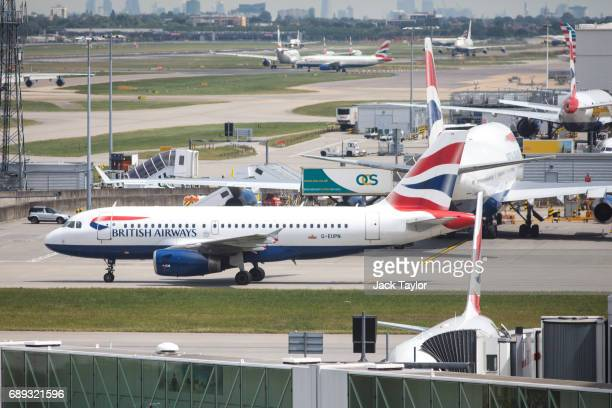 British Airways aircraft on the tarmac at Heathrow Airport Terminal 5 on May 28 2017 in London England Thousands of passengers face a second day of...