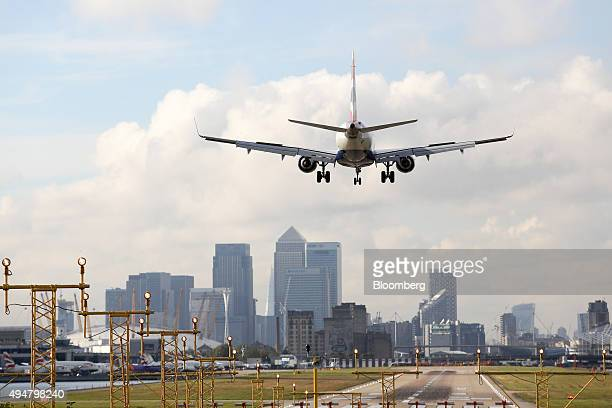 A British Airways aircraft operated by British Airways Plc prepares to land at London City Airport in London UK on Wednesday Oct 28 2015 Global...
