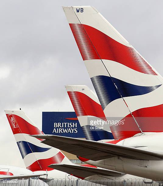 British Airways aircraft stand idle in Heathrow airport on the first day of a three day strike by BA cabin crew on March 20 2010 in London England...
