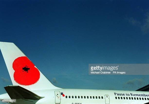 A British Airways aircraft tail fin painted with a poppy motif and the legend 'Pause to Remember' to mark the British Legion Remembrance Day Campaign