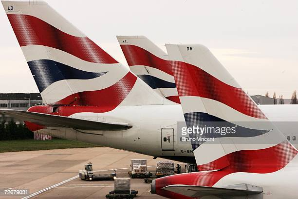 British Airways aircrafts wait at their gates at Heathrow airport on November 30 2006 in London Varius aircrafts are being investigated for possible...