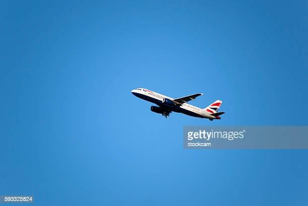 British Airways Airplane in blue sky