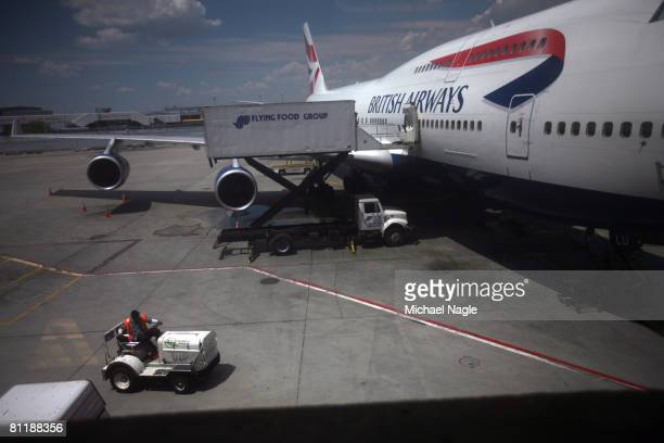 British Airways airplane sits parked at Terminal 7 at JFK International Airport on May 21 2008 in the Queens borough of New York City British Airways...