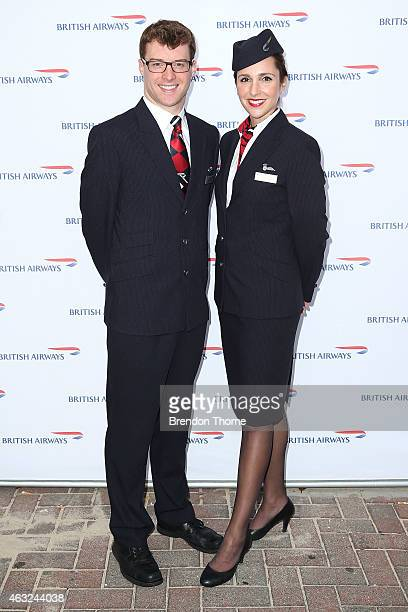 British Airways Ambassadors pose ahead of guests enjoying exclusive first bite of the new British Airways premium cabin menu availabile onboard from...