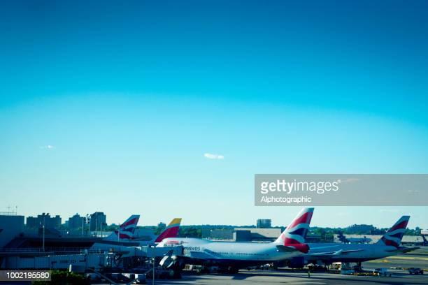British Airways at JFK airport New York at Sunset