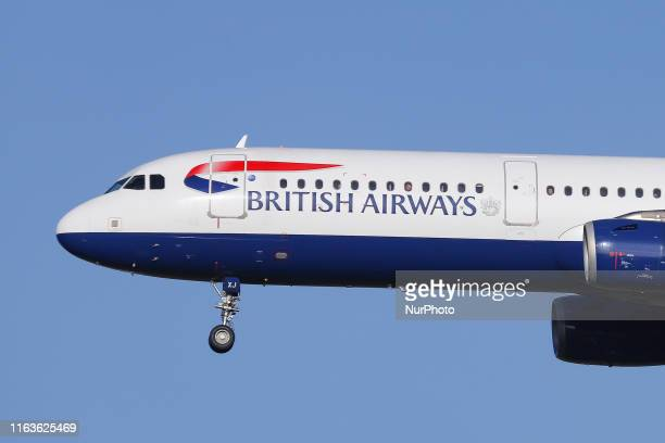 British Airways BAW BA Airbus A321200 aircraft on final approach while landing at runway 27R at London Heathrow International Airport LHR EGLL in...