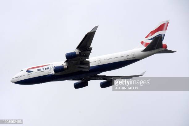 British Airways Boeing 747 aircraft makes a flypast over London Heathrow airport on it's final flight, in London on October 8, 2020. - British...