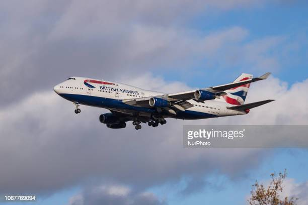 British Airways Boeing 747 landing at its home base London Heathrow Airport England arriving from Vancouver International Airport YVR Canada The...