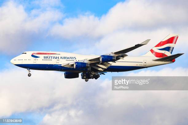 British Airways Boeing 747 landing at its home base London Heathrow Airport England The aircraft type is a Jumbo Jet known as Queen of the skies with...