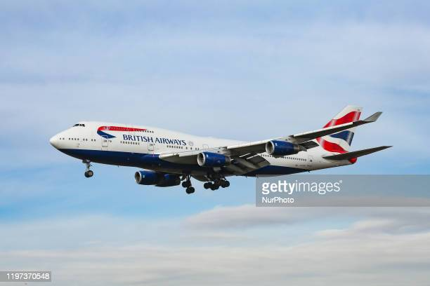British Airways Boeing 747400 with nickname Queen of the Skies commercial aircraft as seen on final approach with landing gear down landing at New...