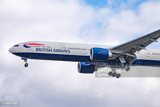 British Airways Boeing 777-300 Extended Range Edition aircraft specifically 777-36N as seen on final approach landing at London Heathrow...