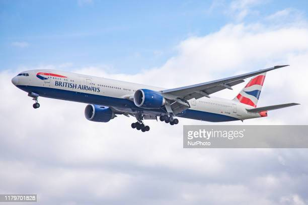 British Airways Boeing 777300 Extended Range Edition aircraft specifically 77736N as seen on final approach landing at London Heathrow International...