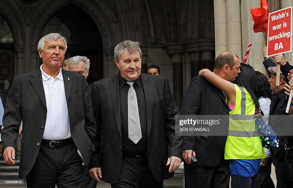 British Airways cabin crew embrace as joint general secretarys of the Unite union, Tony Woodley (L) and Derek Simpson (C) leave the High Court in London on May 20, 2010. British Airways cabin crew could go on strike from Monday after their union won an appeal against a court injunction which had prevented a planned stoppage from going ahead. 'There will be no industrial action this week,' the Unite union's joint general secretary Derek Simpson said as he welcomed the High Court's judgment on Thursday.