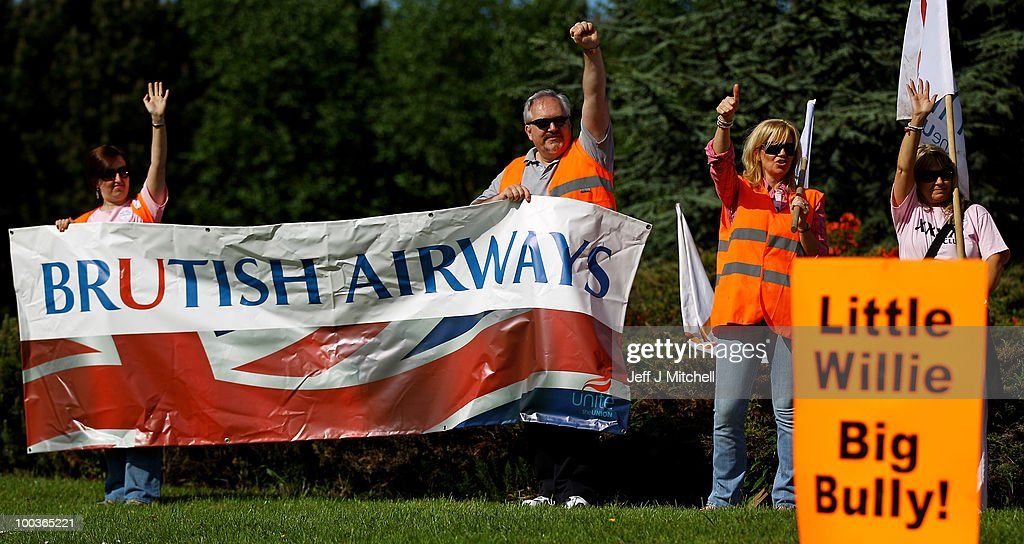 British Airways cabin crew form a picket line at Glasgow Airport on May 24, 2010 in Glasgow, Scotland. The company's cabin crew have begun a five-day strike in a dispute over jobs and pay.
