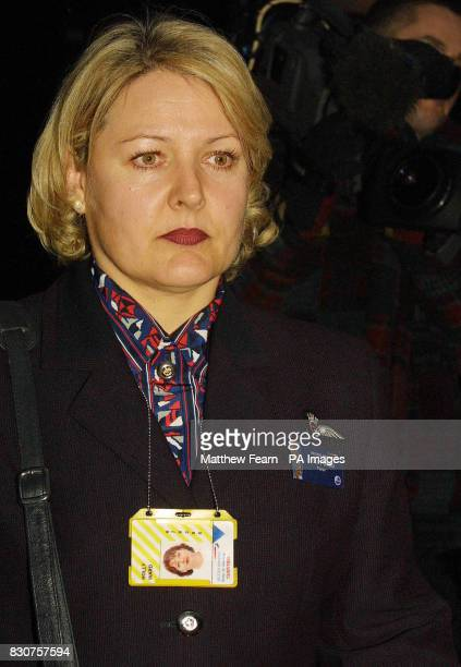 British Airways cabin crew member Holly Ward leaves Isleworth Crown Court following the first day of the air rage trial of REM guitar player Peter...
