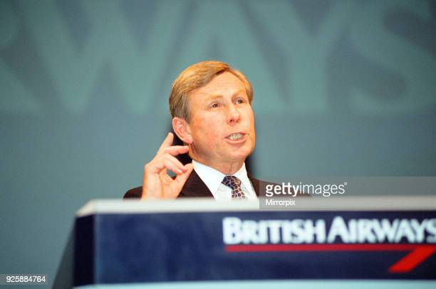 British Airways Chairman Colin Marshall give his account of the Virgin 'dirty tricks' saga during the companies AGM in London's Barbican Centre 13th...