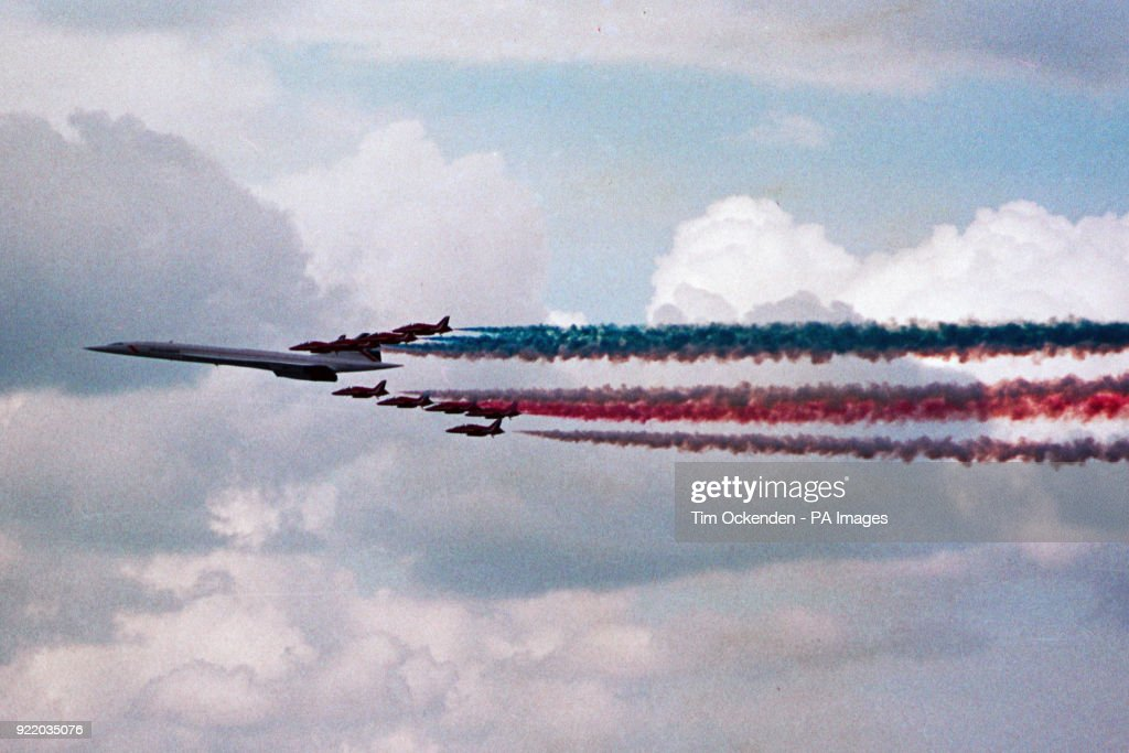 Concorde and Red Arrows Fly-past - Heathrow Airport, London : News Photo