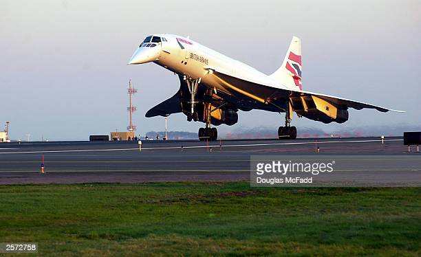 British Airways Concorde Flight 1215 arrives at Logan International Airport from London October 8 2003 in Boston Massachusetts Boston is one of only...