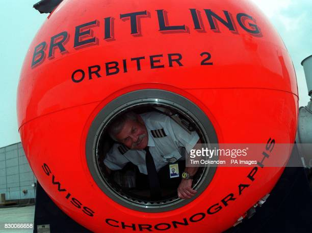 British Airways Concorde Flight Engineer Tony Brown from Guildford Surrey inside the capsule of the Breitling Balloon at Heathrow Airport Tony has...