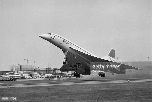 British Airways Concorde lifts off from airport here 1/21 on its inaugural passenger flight to Bahrain Simultaneously a Concorde of Air France was...