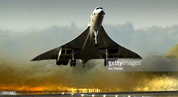 British Airways Concorde lifts off from Heathrow airport on one of it's last ever commercial flights October 23 in London The world's only supersonic...