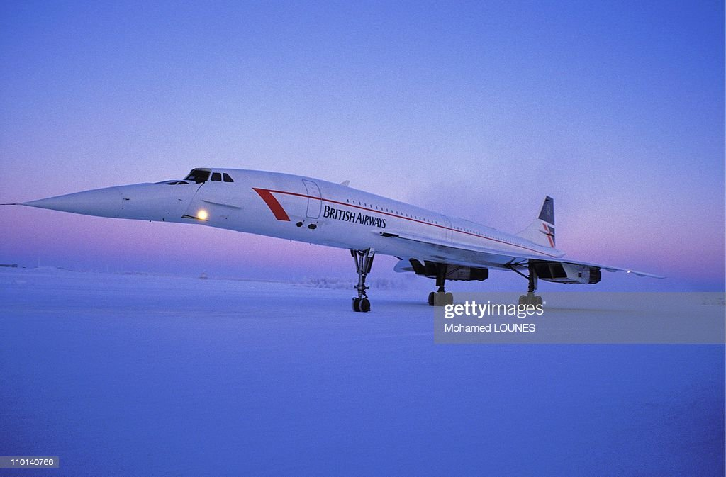 A British Airways Concorde on a Christmas flight to Finland, December 24, 1987.